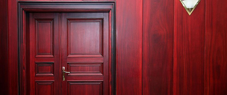 red wood interior door
